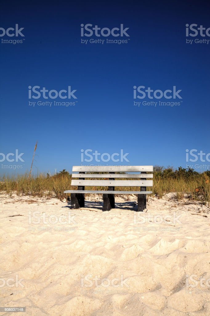 Wood Bench On The White Sand Beach Of Delnorwiggins Pass State Park Stock Photo Download Image Now Istock