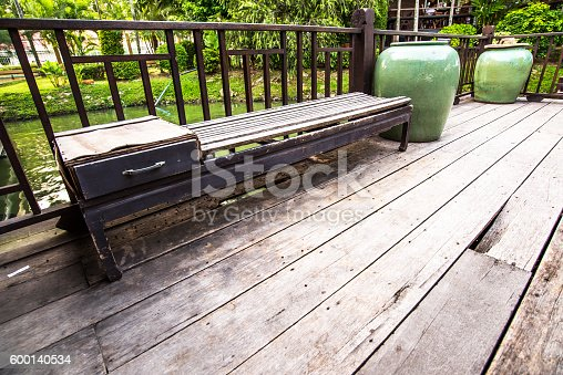 Wood Bench outside Thai House, Thailand Architecture
