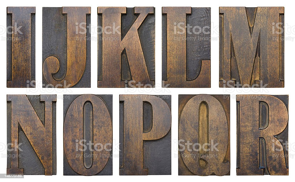 Wood block I-R stock photo