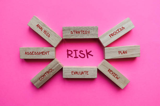 Wood Block of Risk And Analysis on Pink Background. stock photo