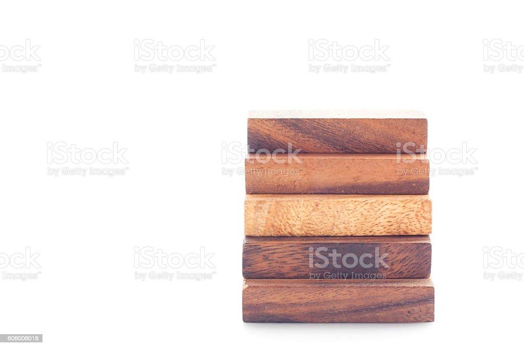 Wood block on white background. stock photo