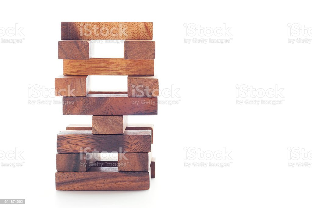 Wood block on white background. stock photo