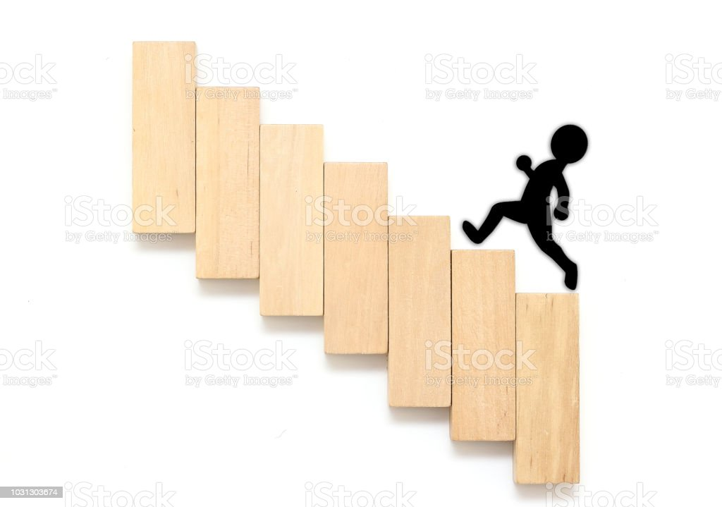 Wood Block Stacking As Step Stair Business Concept For Growth