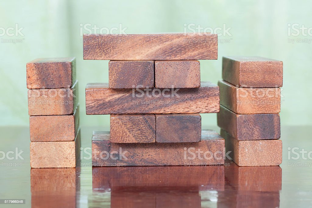 Wood block tower game for children. stock photo