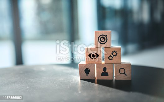istock Wood block with icon business strategy and Action plan, copy space. 1187866982