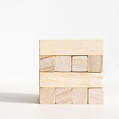 Wood blocks on a white background front view