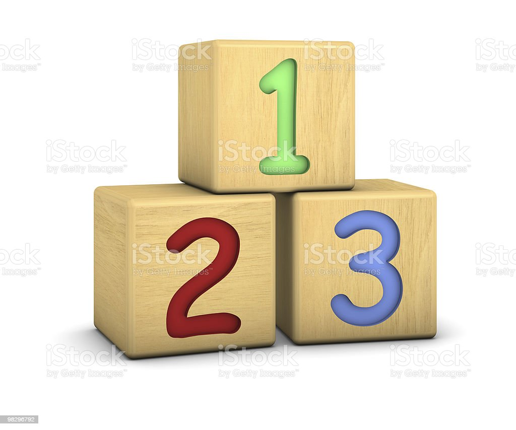 Wood blocks with 123 numbers royalty-free stock photo