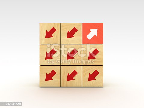 621936988 istock photo Wood Blocks with Arrows and One Red - 3D Rendering 1250434336