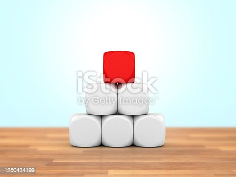 Wood Blocks with One Red - 3D Rendering