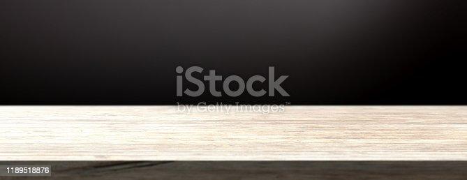 642100994 istock photo Wood board  empty blank template dark background, copy space. 3d illustration 1189518876
