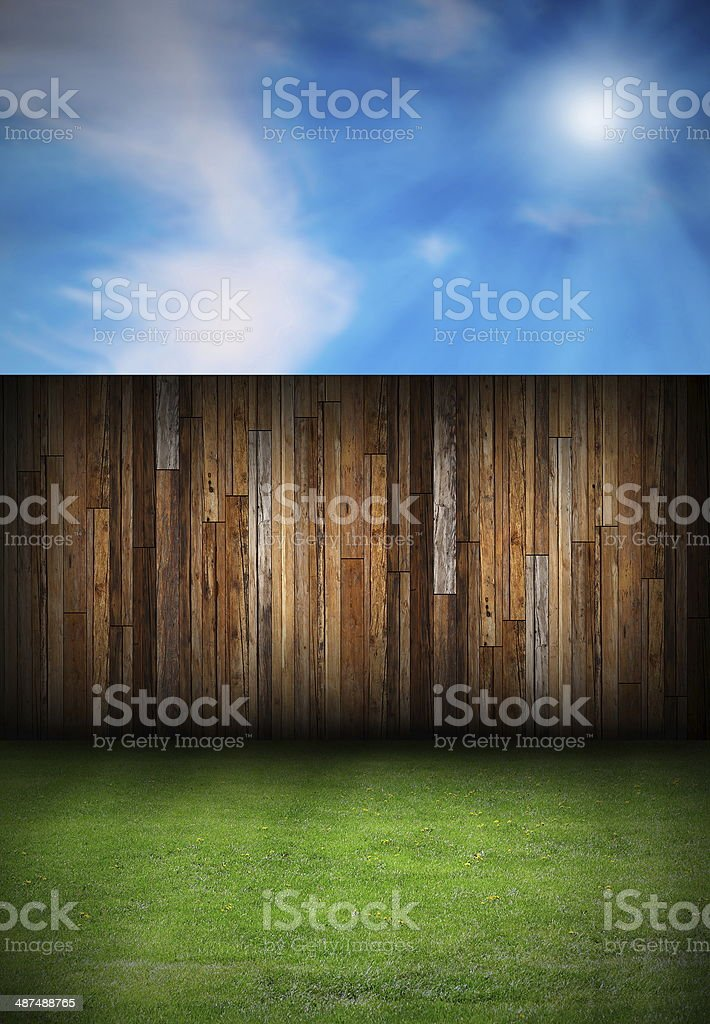 wood boards fence in the backyard stock photo