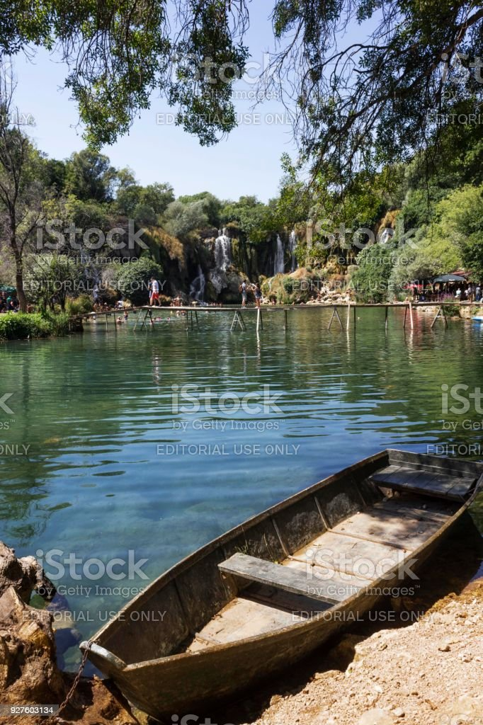Wood boat  aground in Kravica natural park stock photo