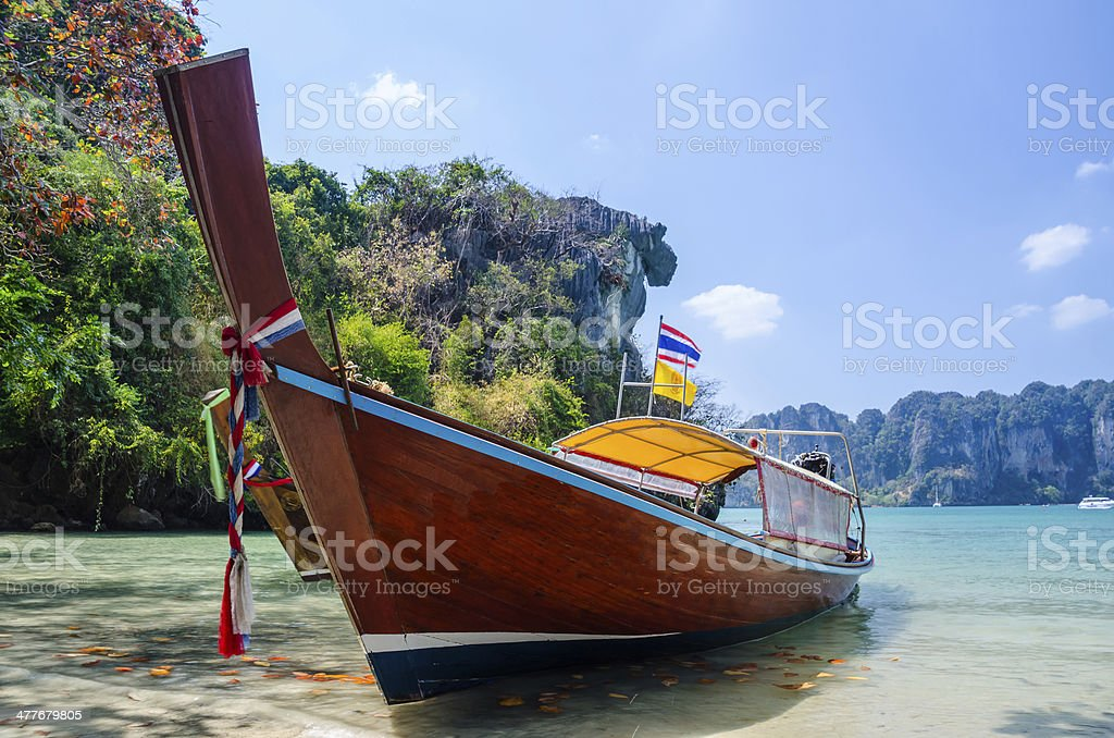 Wood Boat on the sea royalty-free stock photo