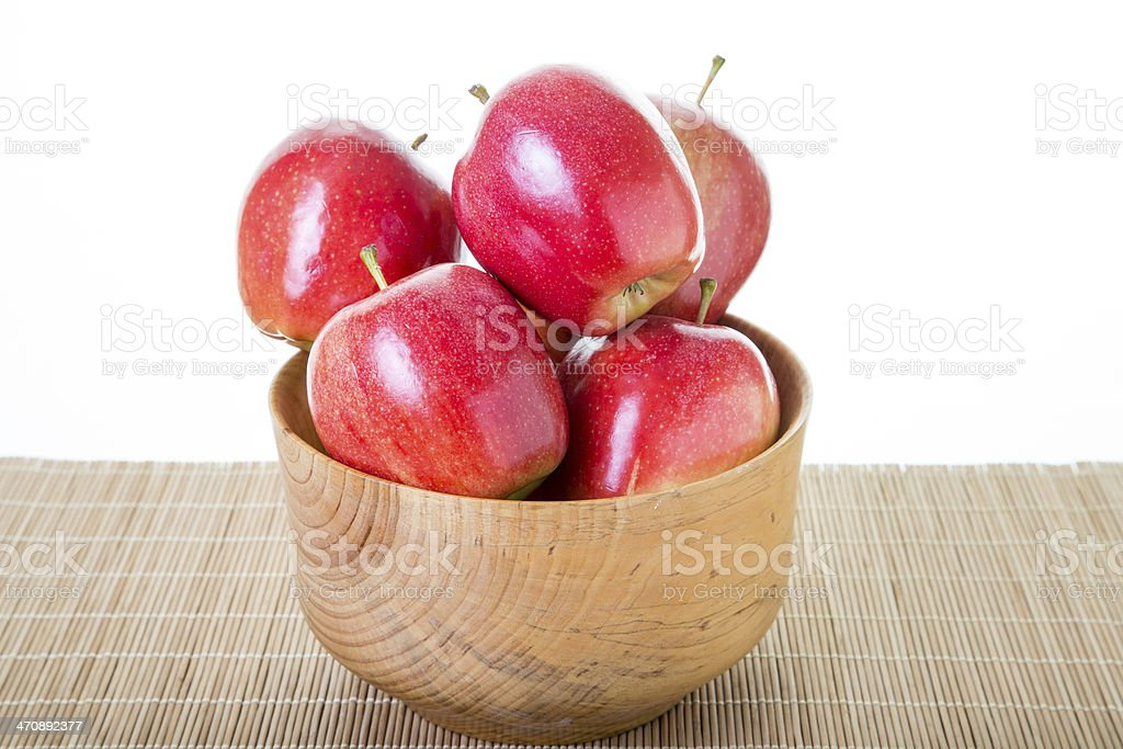 Wood Bowl Full of Red Apples royalty-free stock photo