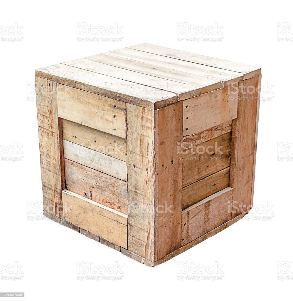wood box isolated on white background stock photo