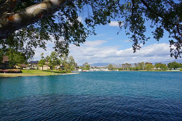 Wood Bridge North Lake stock photo