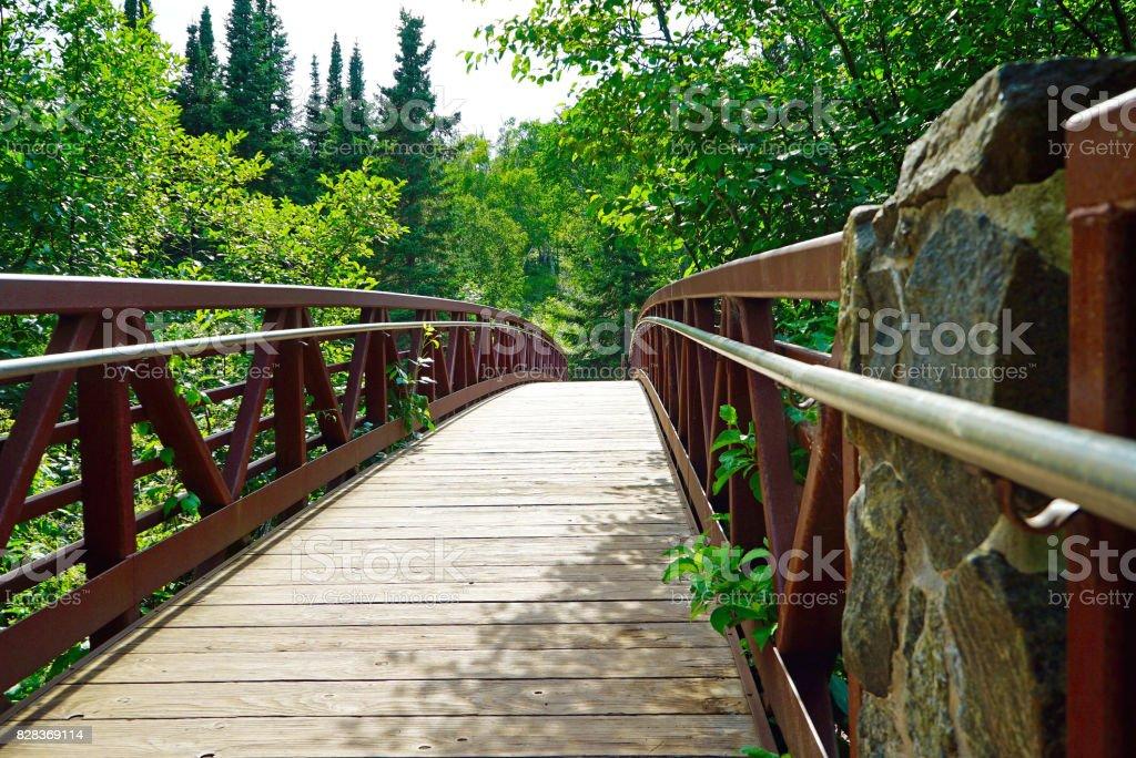 Wood Bridge over Gooseberry River stock photo