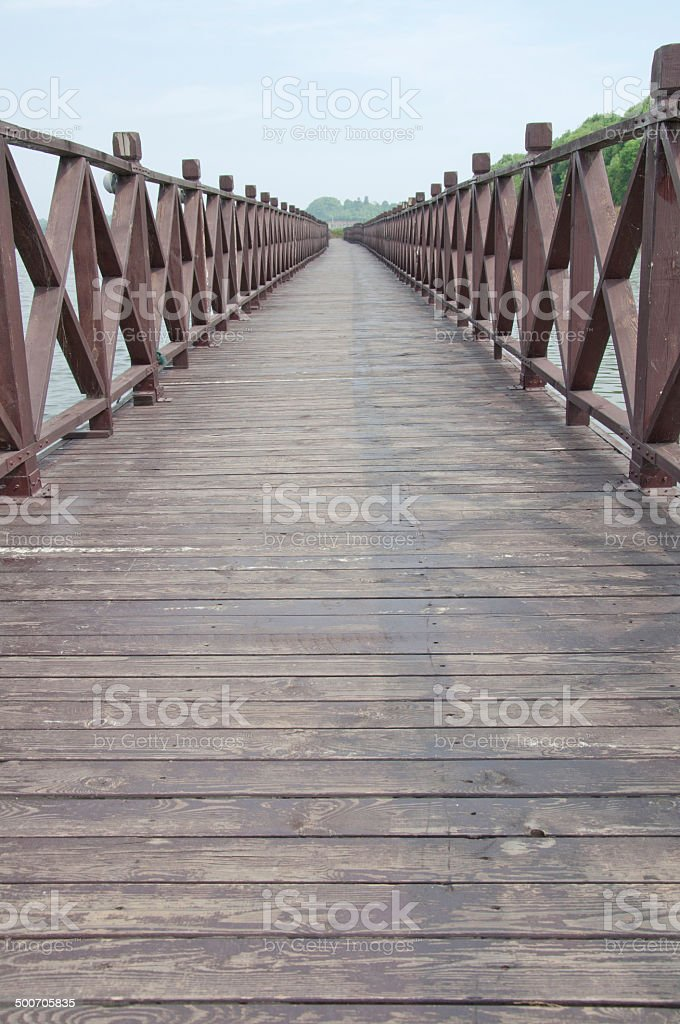 wood bridge stock photo