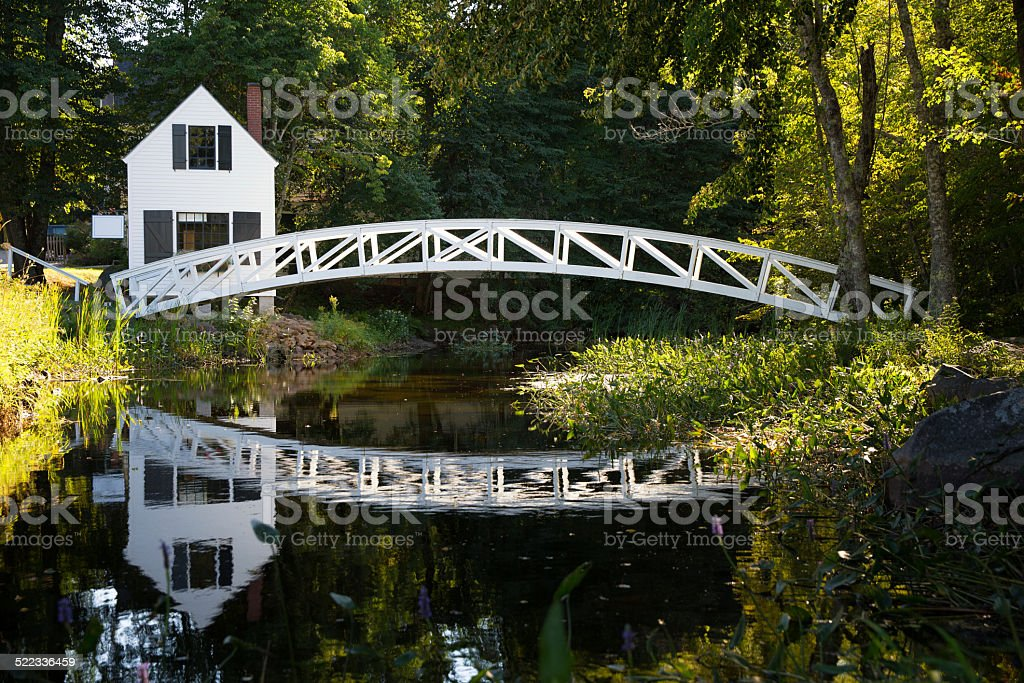 Wood bridge, Somesville stock photo