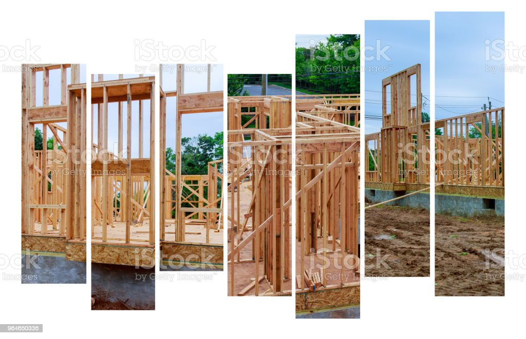 Wood Building frame at Multi-Family Housing Construction Site royalty-free stock photo