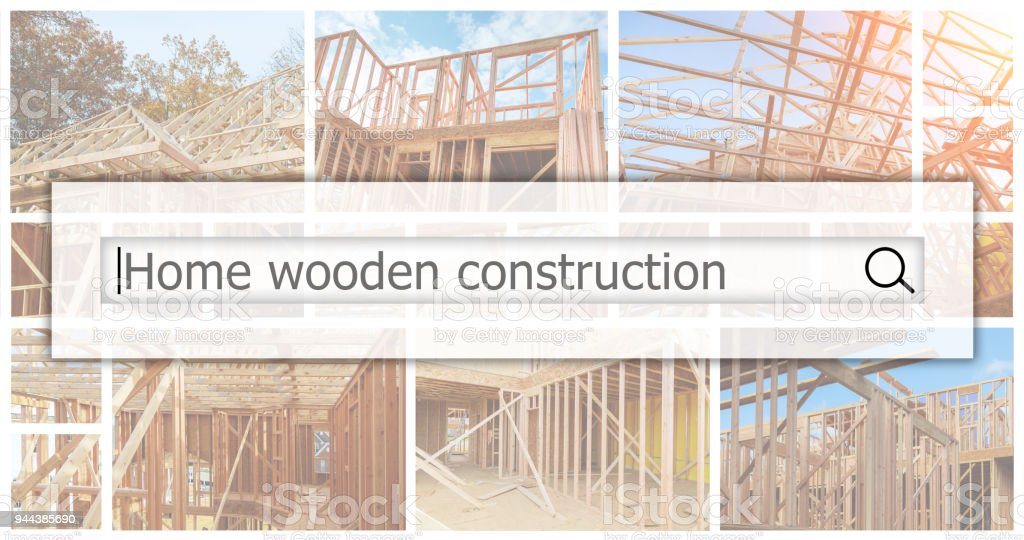 Wood Building frame at Multi-Family Housing Construction The concept of service for dating photo collage stock photo