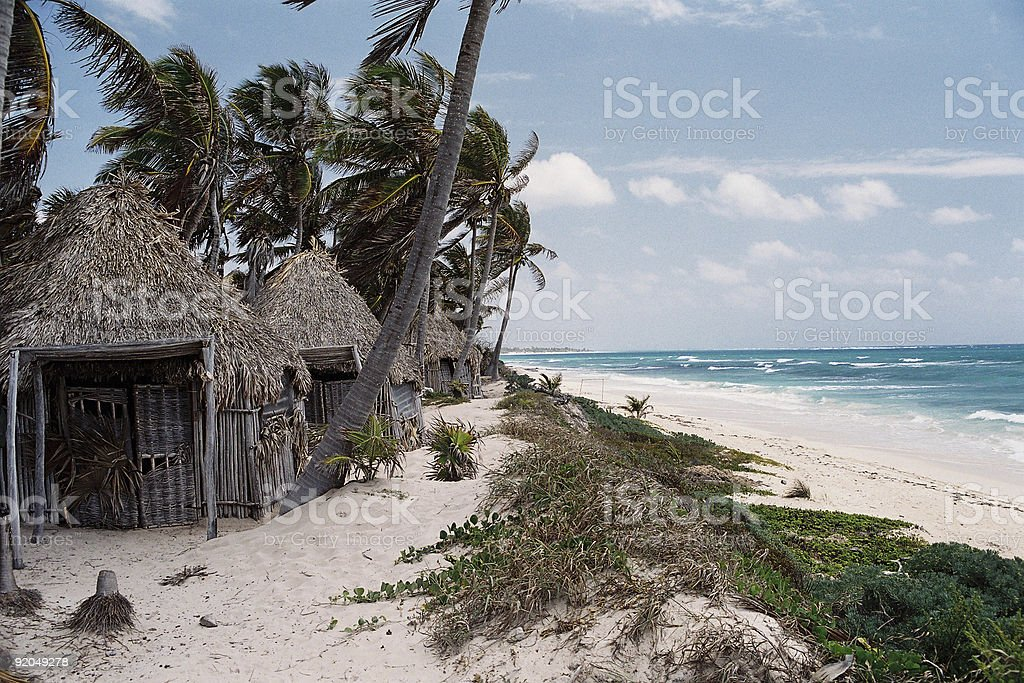 Wood Bungalows in Tulum royalty-free stock photo