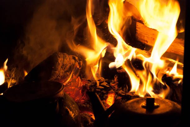 Wood burning in the fireplace - foto stock
