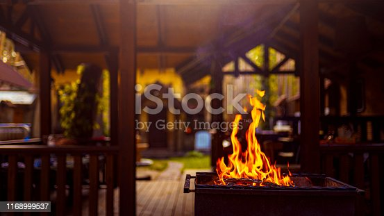 istock Wood burning in the grill 1168999537