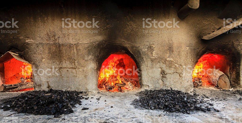 Wood burning ovens royalty-free stock photo