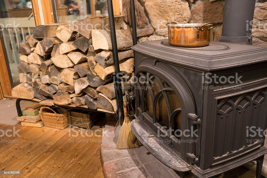 Wood Burning Stove Fireplace stock photo