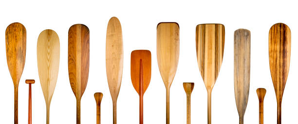 wood canoe paddles abstract banner stock photo