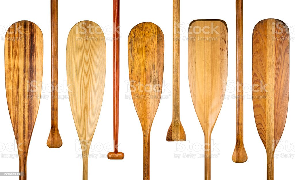 wood canoe paddles abstract stock photo