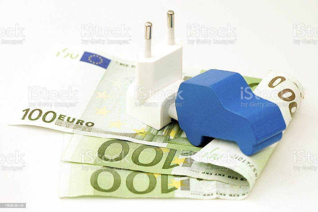 Wood Car on 100 Euro Banknotes. stock photo