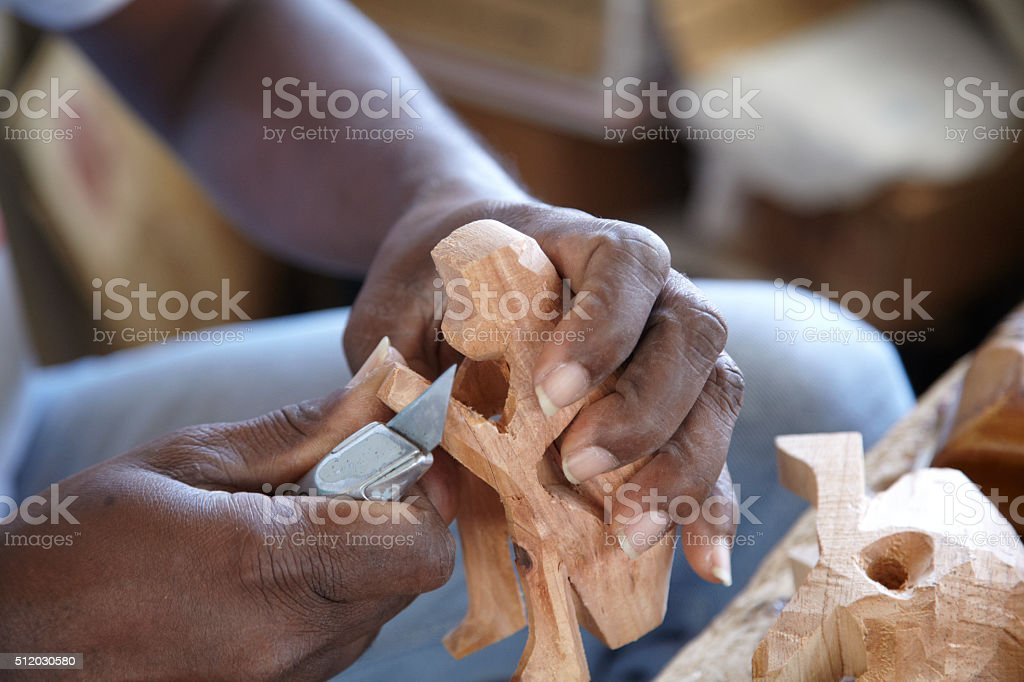 Wood Carver Working stock photo