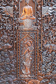Wood carving in Buddhist temple of Wat Doi Ngam Muang in Chiang Rai, northern Thailand.