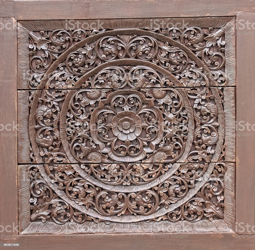 Wood Carving in Flower and Vine Plant Pattern royalty-free stock photo