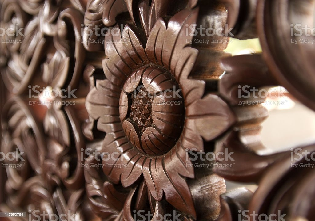 Wood carving of flower pattern. royalty-free stock photo
