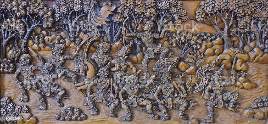 Wood carving of ramayana epic stock photo