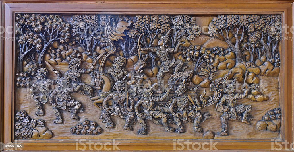 Wood carving of ramayana epic royalty-free stock photo