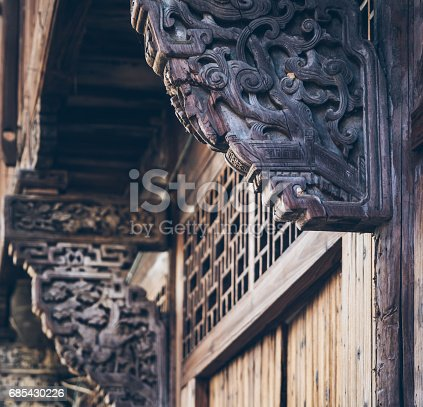 Wood carving on traditional house,Architectural details.