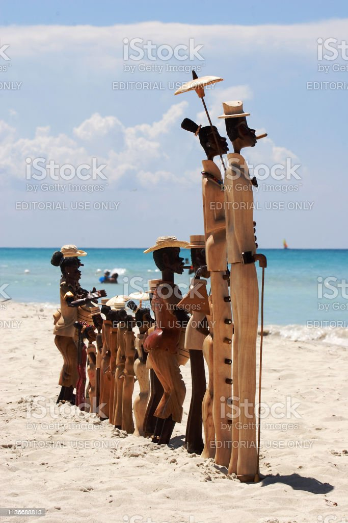 Wood carvings on Varadero beach, Cuba stock photo