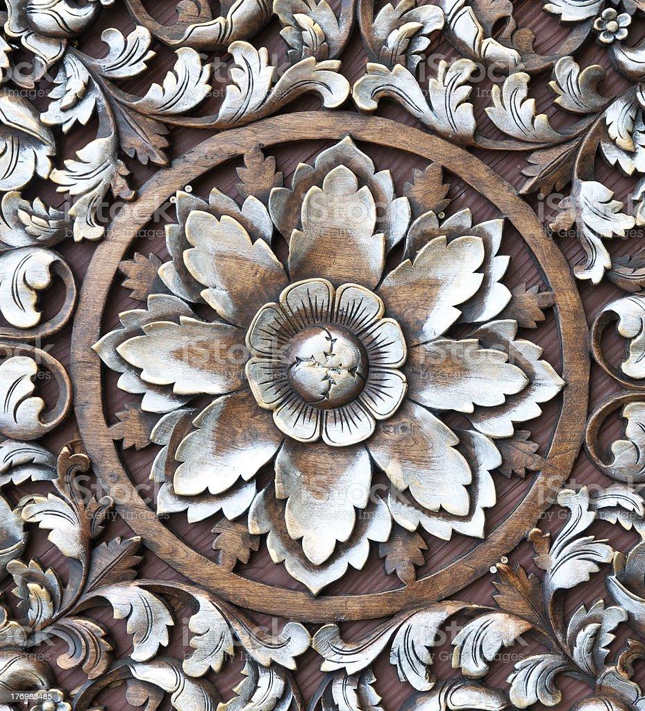 wood caving pattern royalty-free stock photo