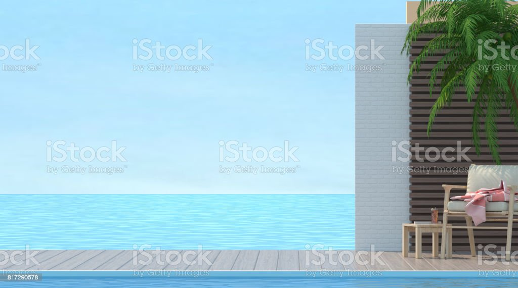 Wood chair on Sunbathing deck and private swimming pool with sea view at luxury villa 3d rendering stock photo
