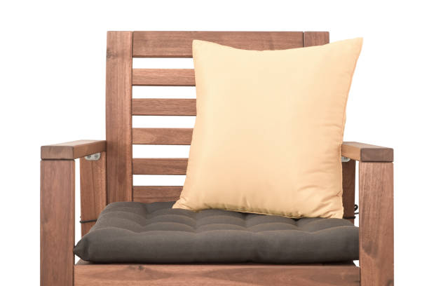 wood chair with cushion isolated on white background - stuhlpolster stock-fotos und bilder