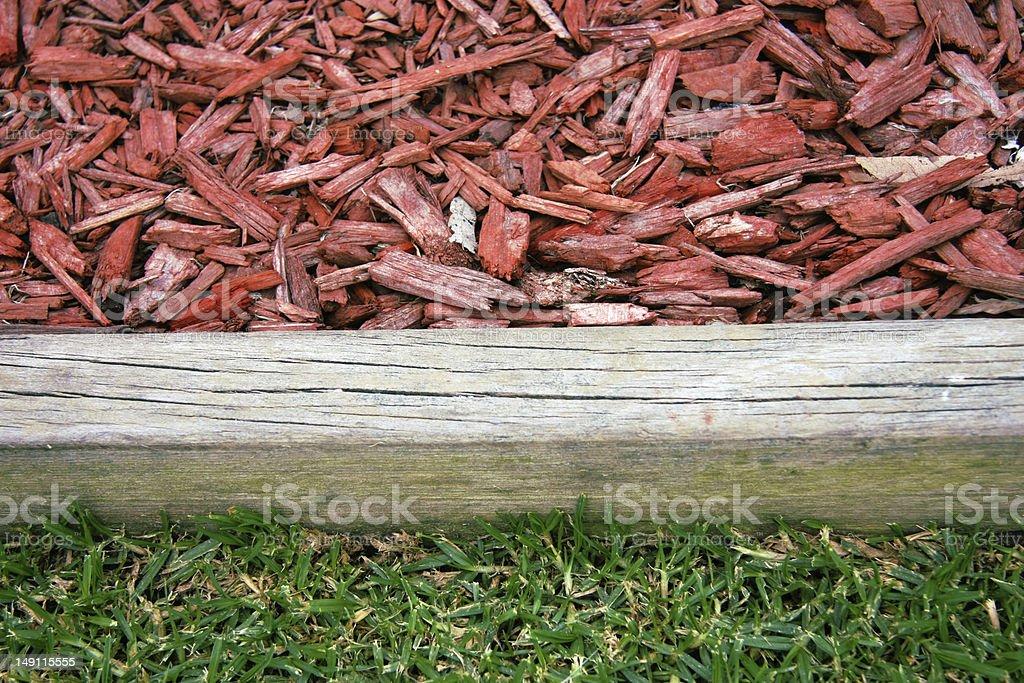 Wood chip garden stock photo