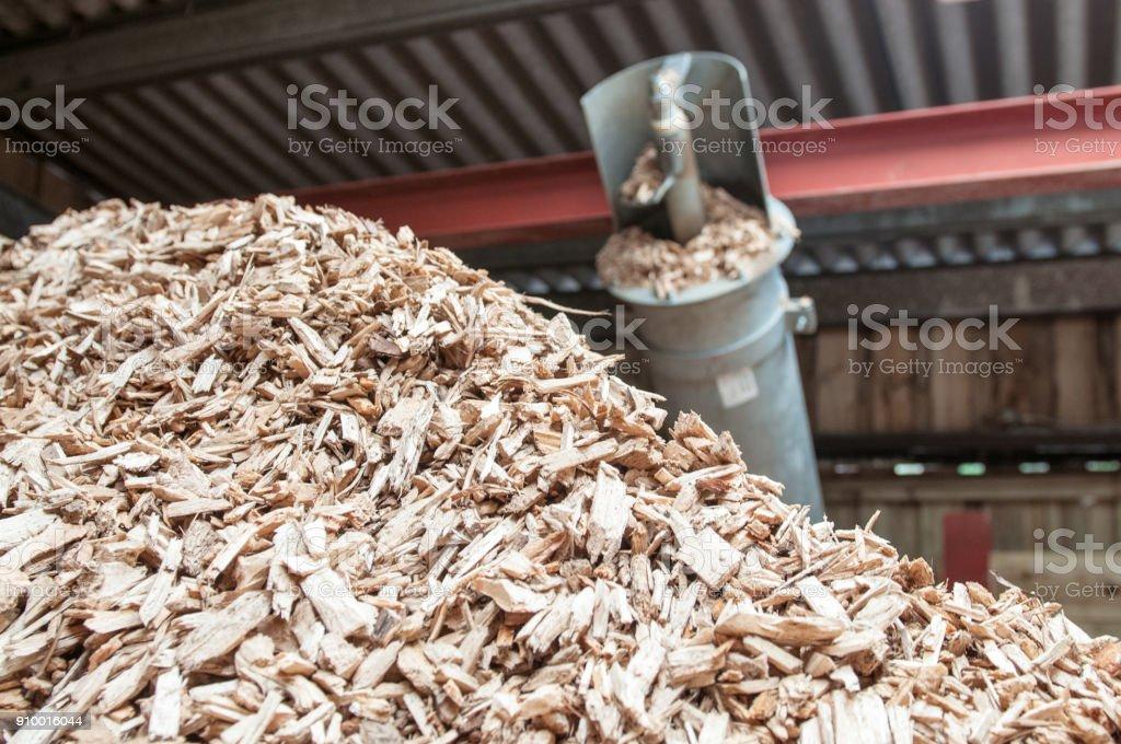 Hackschnitzel-Stack für Biomasse-Kessel – Foto