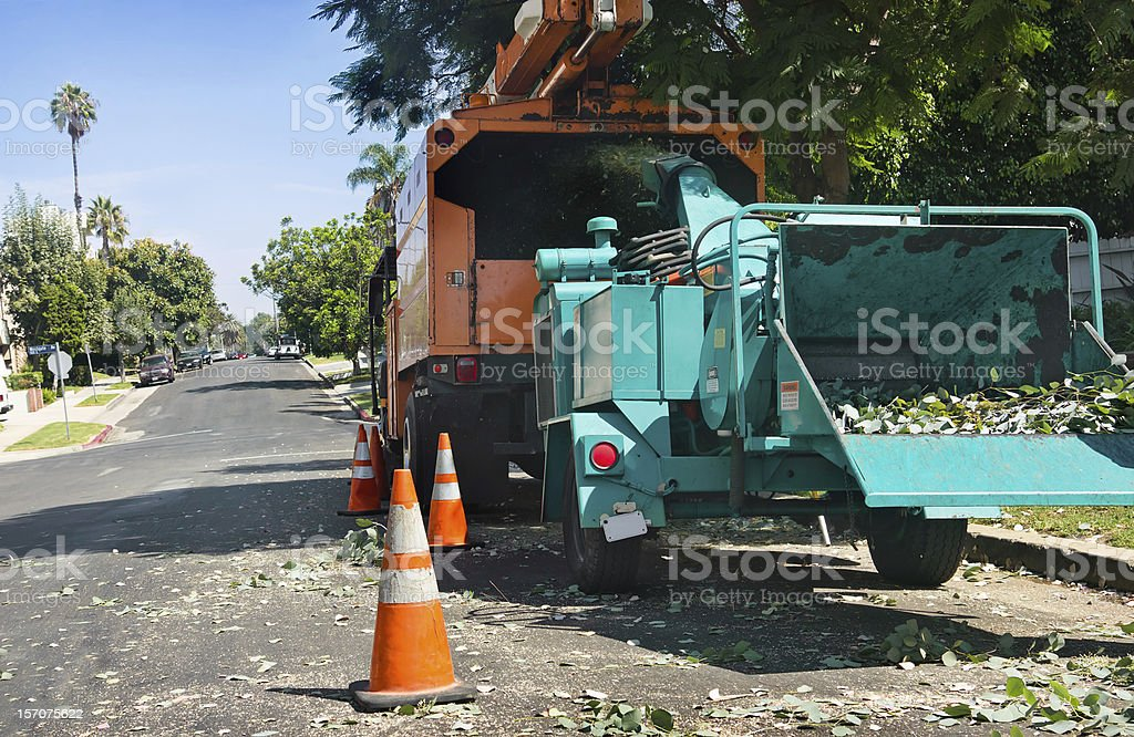 Wood Chipper Grinds Away royalty-free stock photo