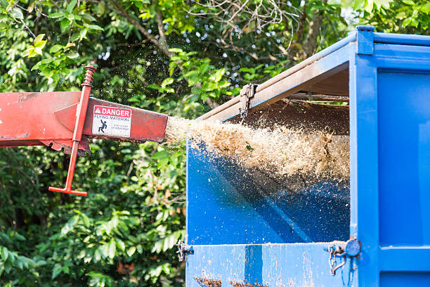 wood chipper maschine loslassen-wald in einem lkw - häcksler stock-fotos und bilder