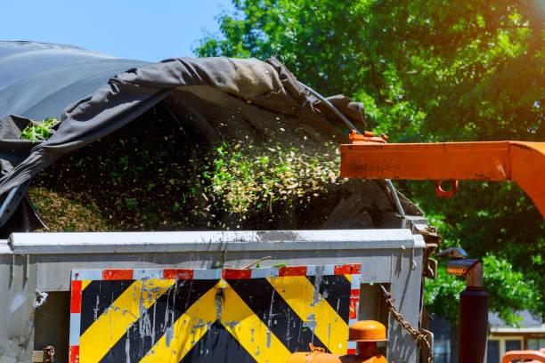holzhacker zerkleinert einen tragbaren maschinenbaum in einen lkw - häcksler stock-fotos und bilder