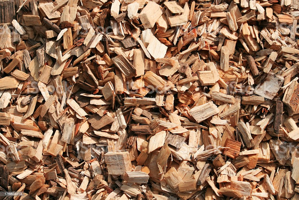 Wood Chips Before Becoming Garden Mulch stock photo